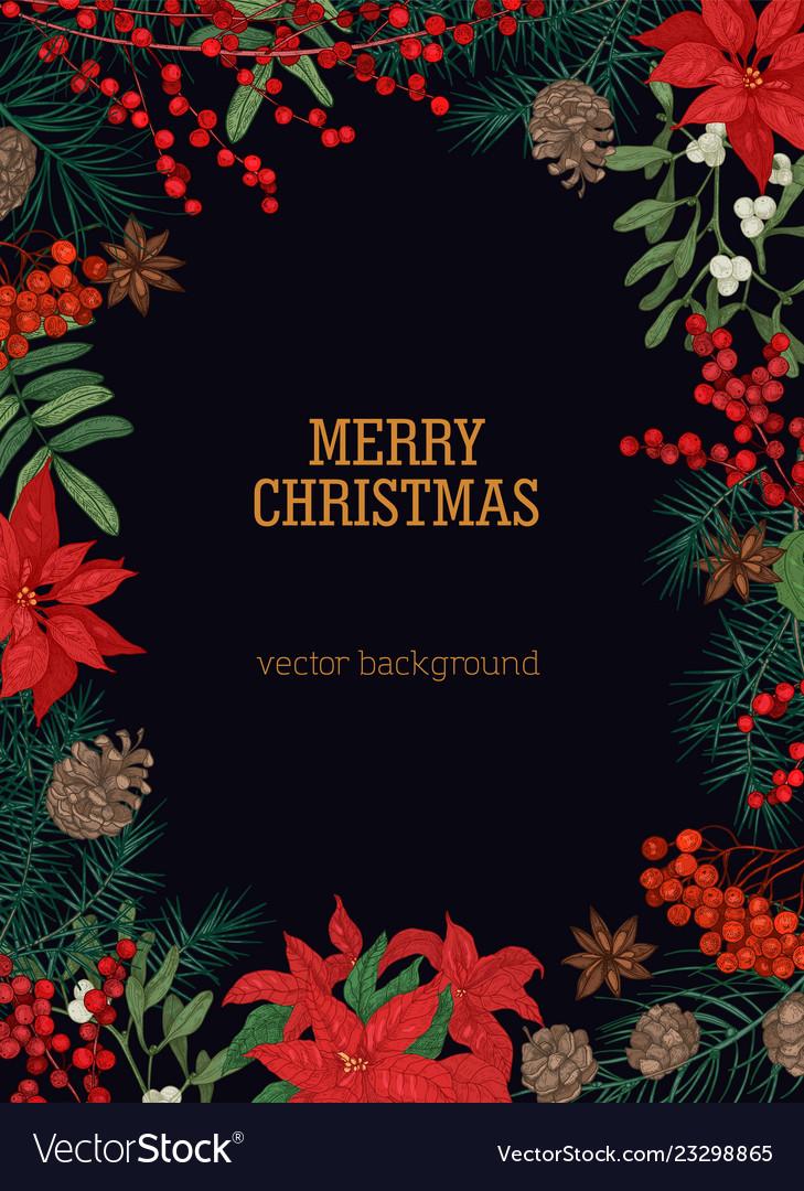 Christmas Postcard Template With Holiday Wish Vector Image