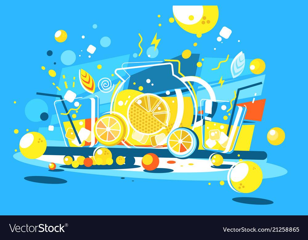 Cool lemonade in glass jug