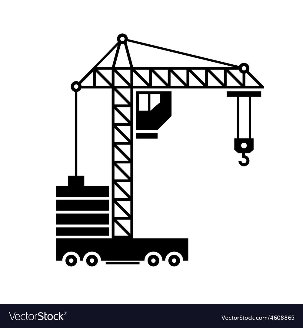 Crane Icon Silhouette on White Background