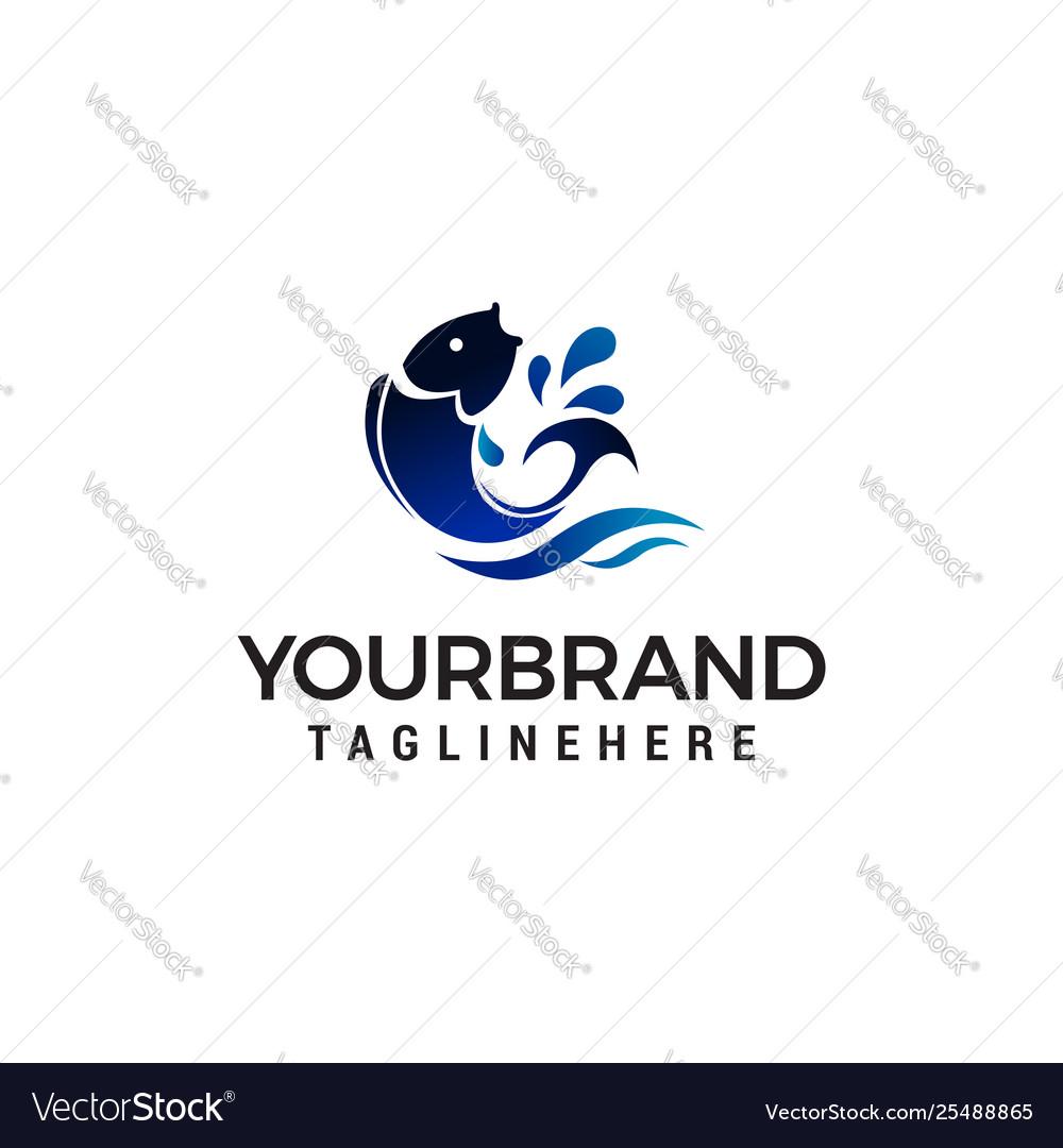 Fish jumping logo design concept template