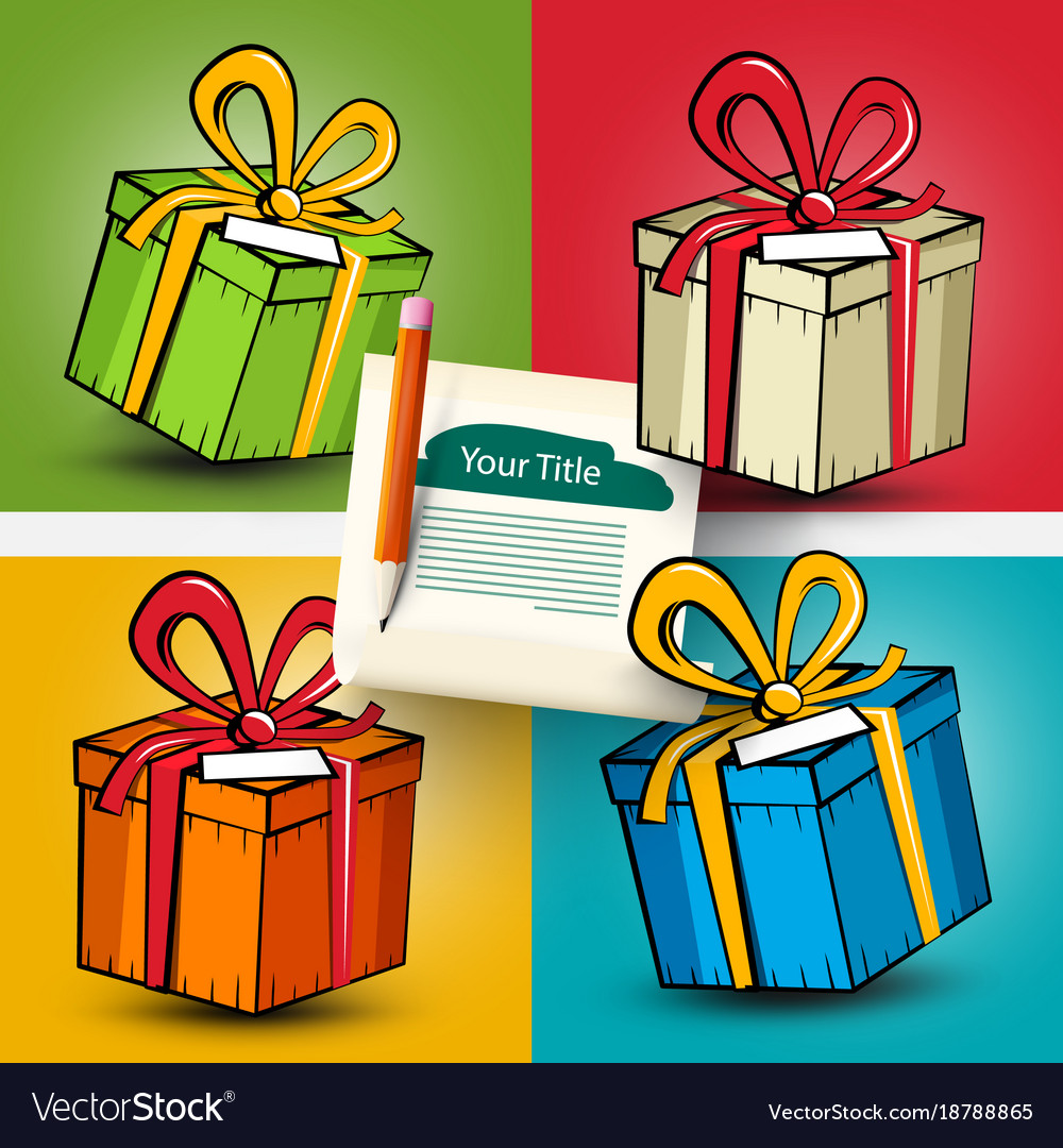 Gift boxes set present box on colorful backgrounds