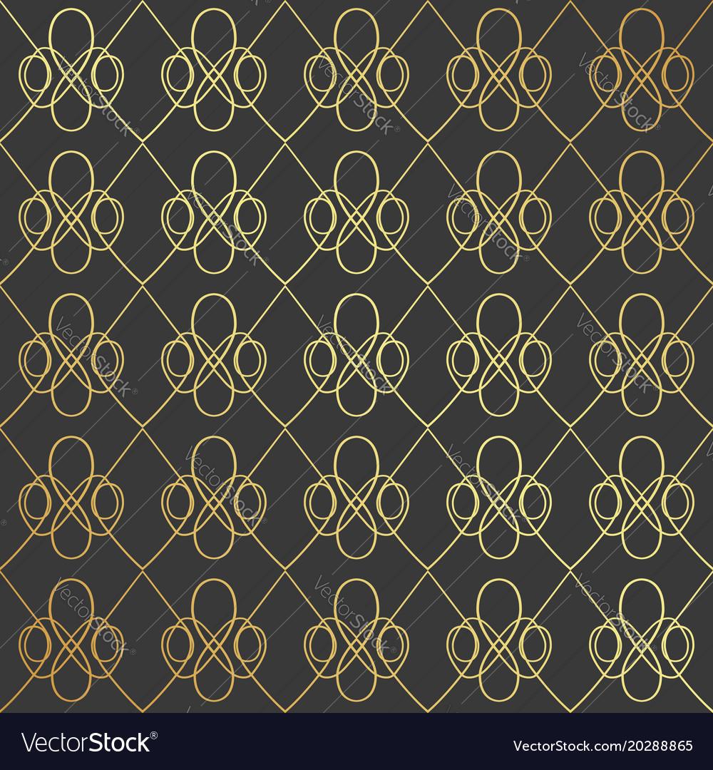 Golden geometric seamless pattern