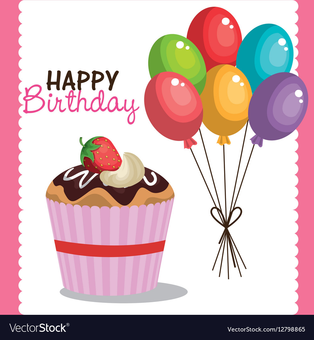 Happy birthday party invitation with sweet cupcake happy birthday party invitation with sweet cupcake vector image filmwisefo