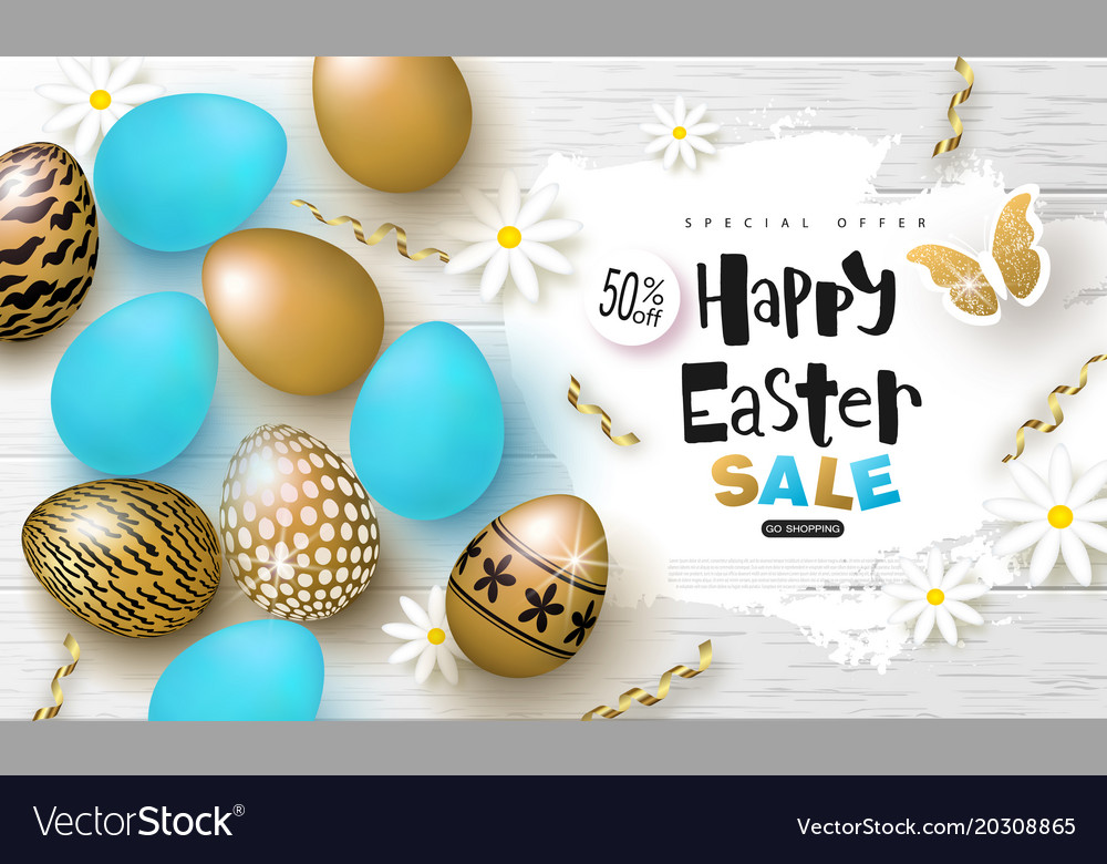 Happy easter sale bannerbackground with beautiful