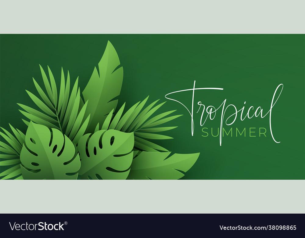Hello summer banner paper-cut green tropical