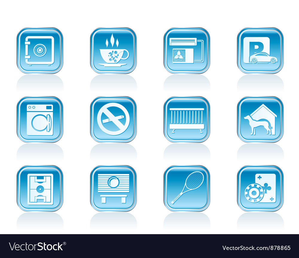 Hotel and motel amenity icons vector image