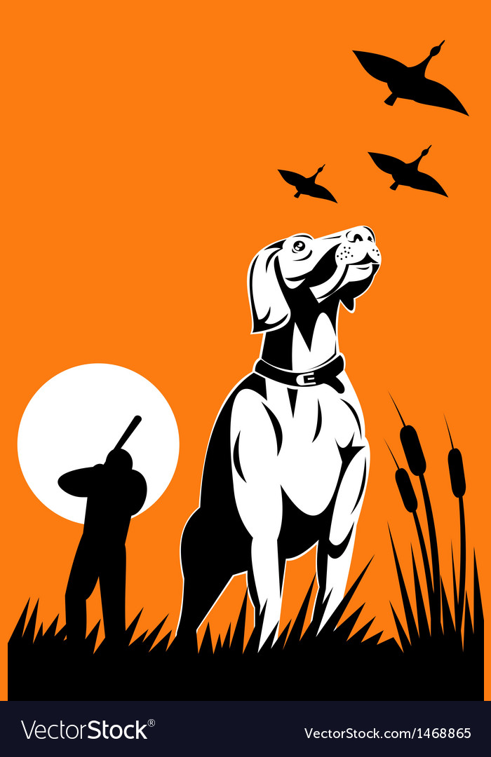 Hunter aiming shotgun with retriever dog
