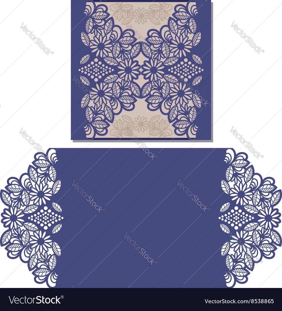 Laser cut pattern for invitation card vector image