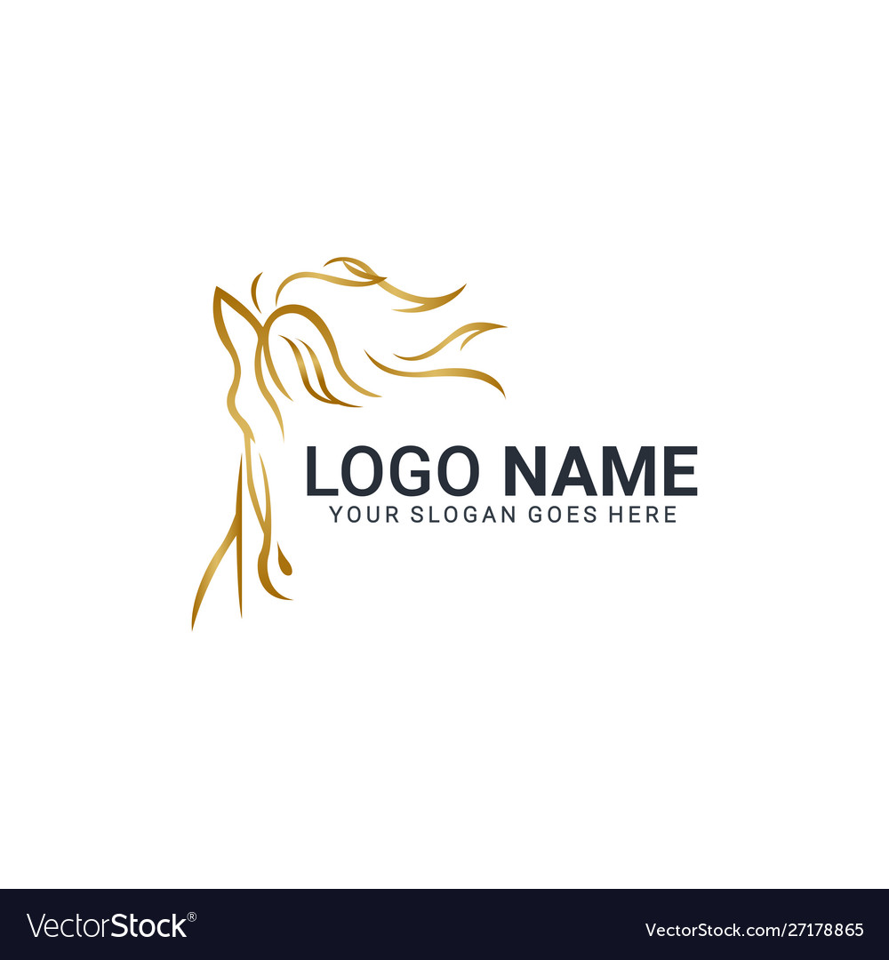 Modern Gold Abstract Horse Logo Design Animal Vector Image