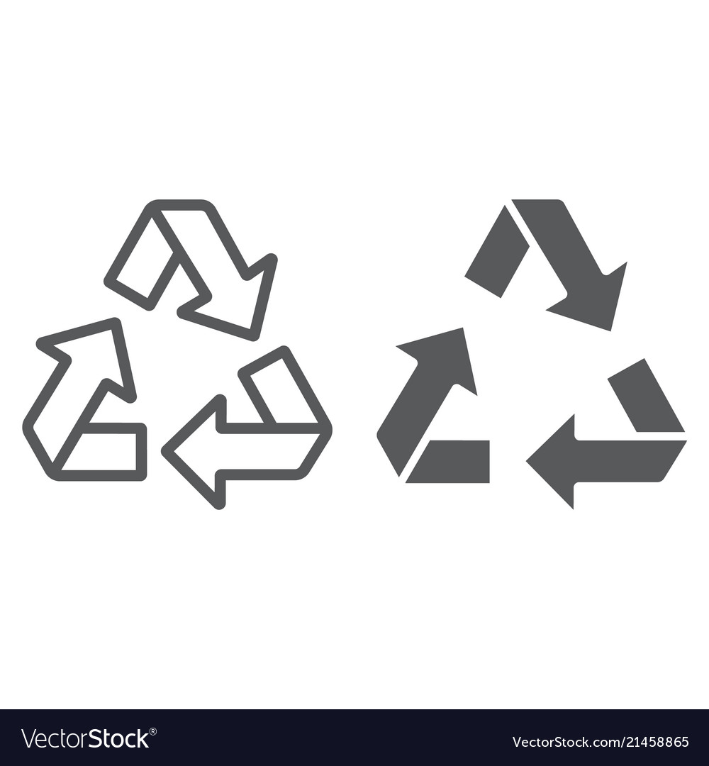 Recycle line and glyph icon ecology protection