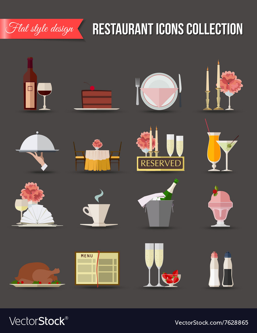 Restaurant icons set Flat style design