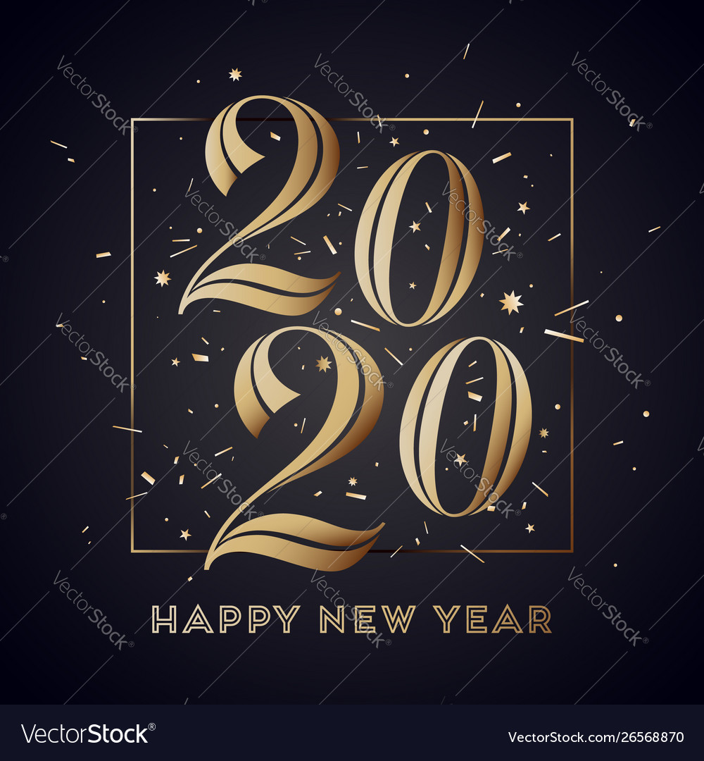 2020 Happy New Year Greeting Card Royalty Free Vector Image