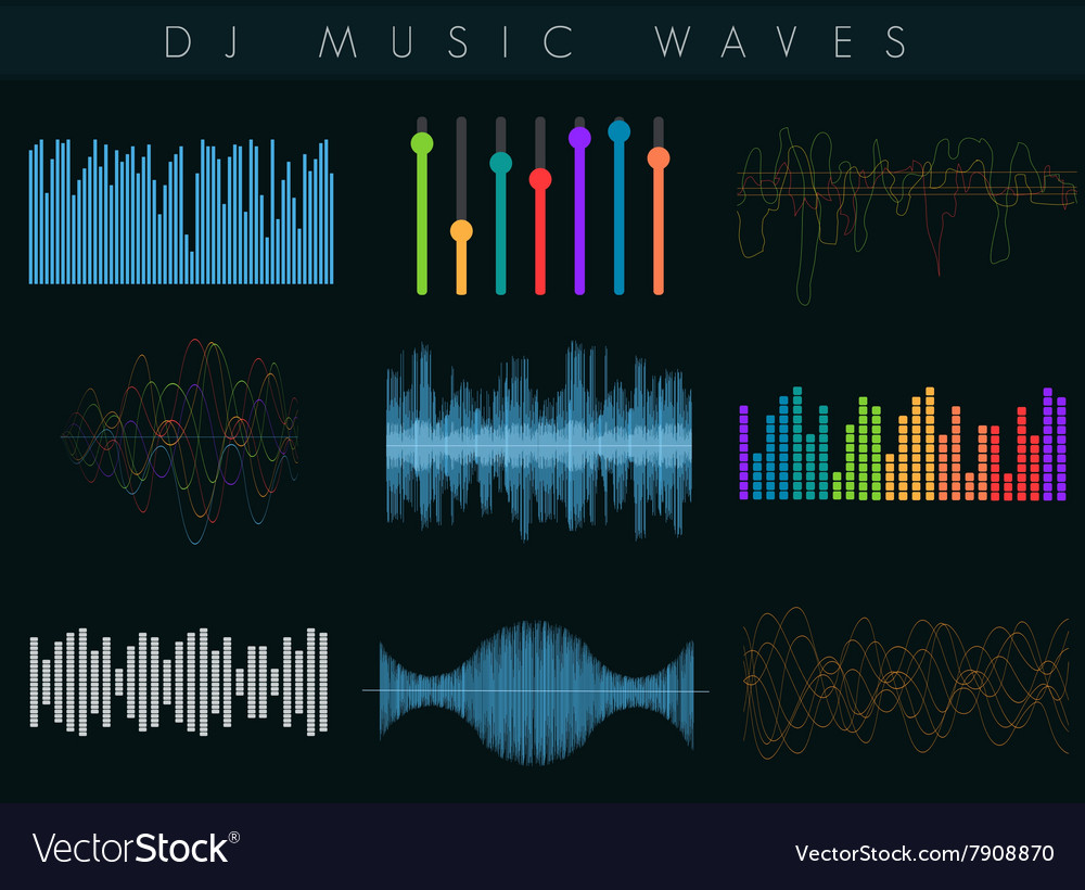 DJ sound waves set Colorful abstract