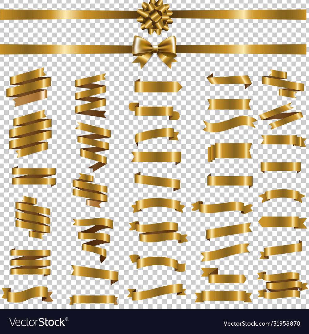 Golden ribbon set transparent background