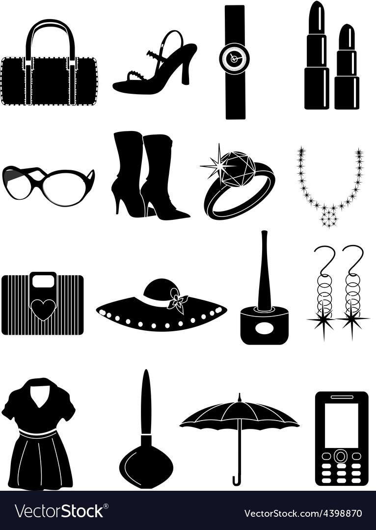 Ladies accessories icons set