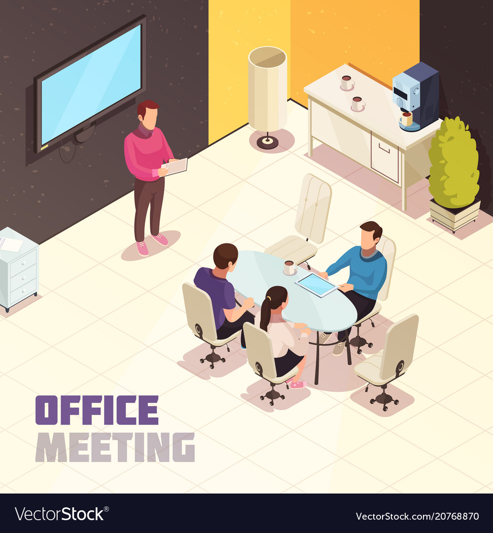Office meeting isometric poster