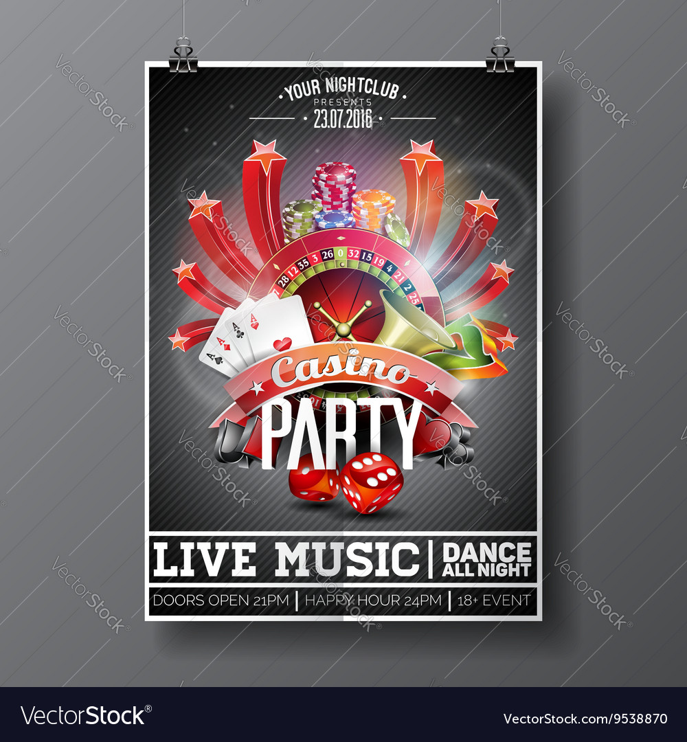 Party Flyer design on a Casino theme with cards