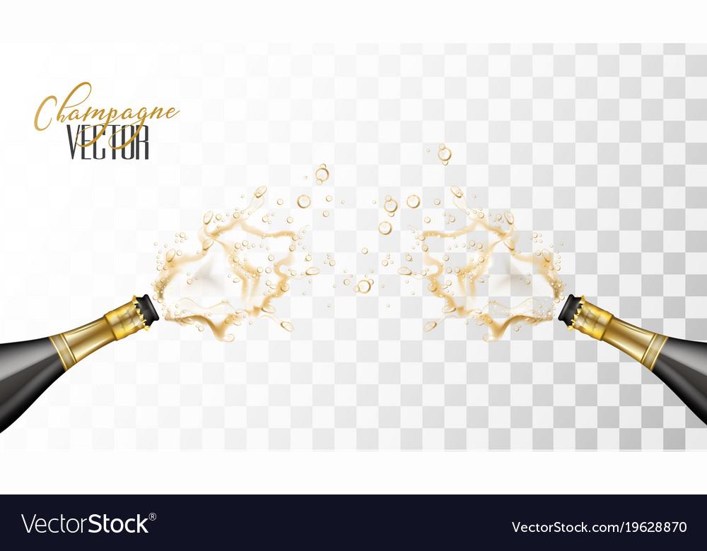 Realistic champagne explosion closeup