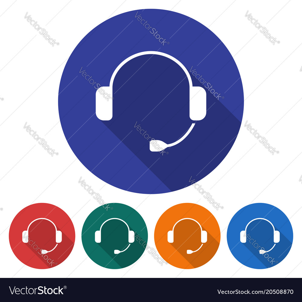 Round icon of headphones flat style with long