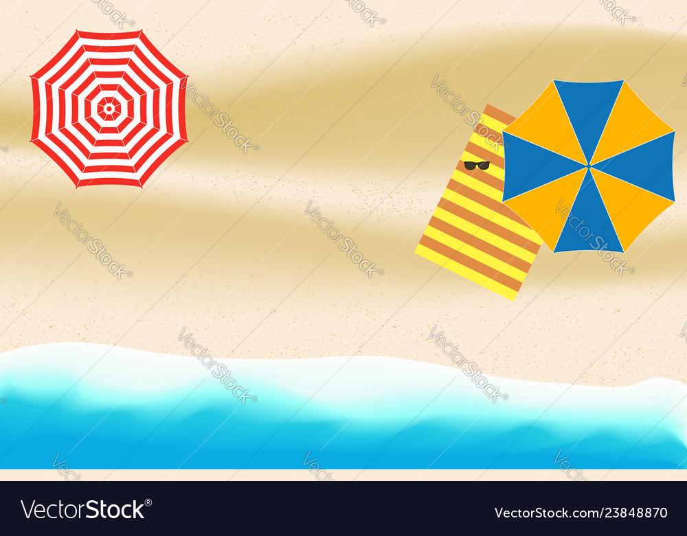 Sea or ocean beach with umbrellas