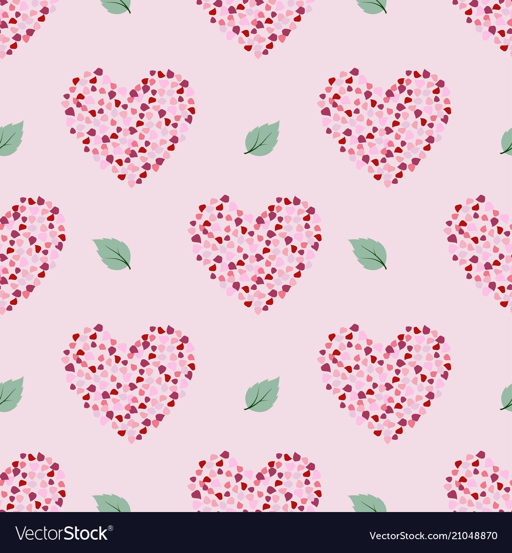 Seamless pattern with petal in heart shape