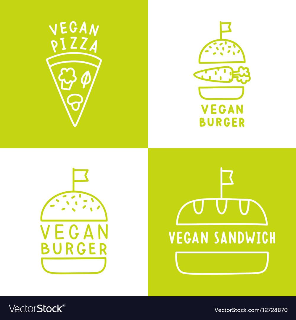 Set of vegan food icons Burger pizza sandwich