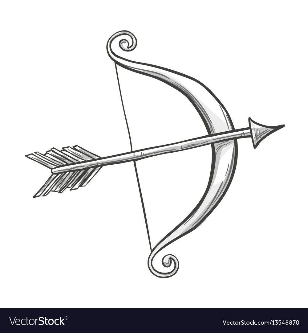 sketch cupid bow and arrow royalty free vector image