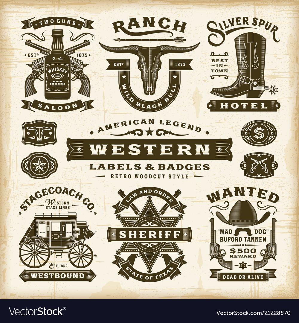 Vintage western labels and badges set