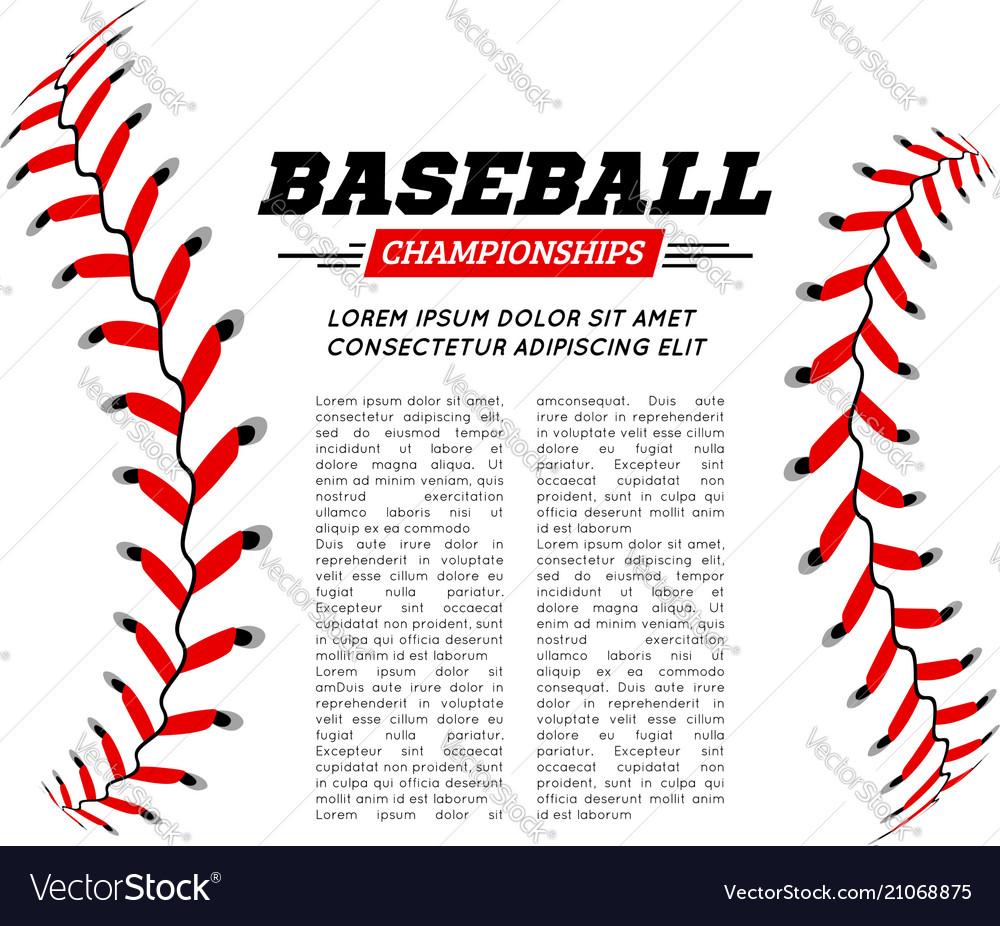 Baseball ball text frame on white background