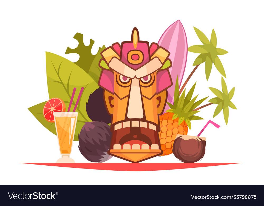 Cartoon hawaii composition