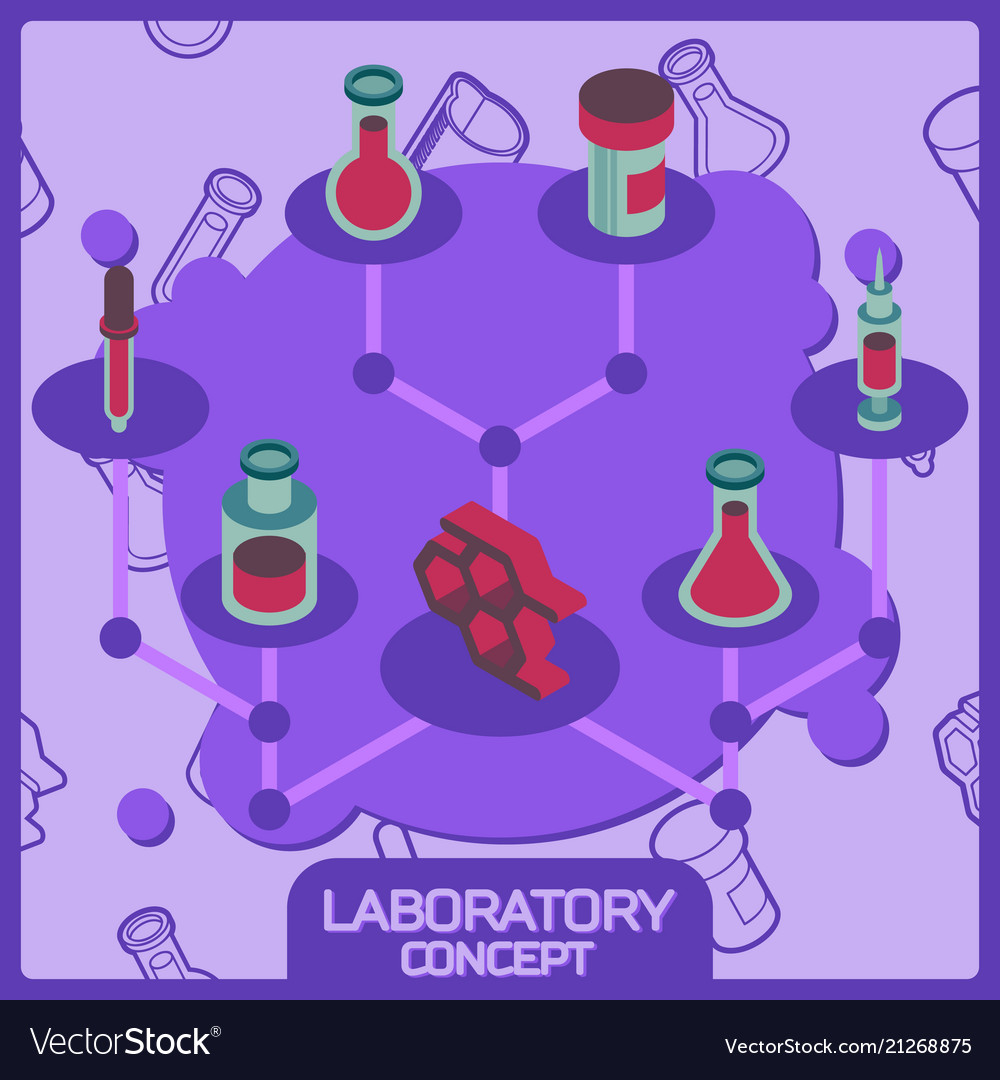 Laboratory color concept isometric icons