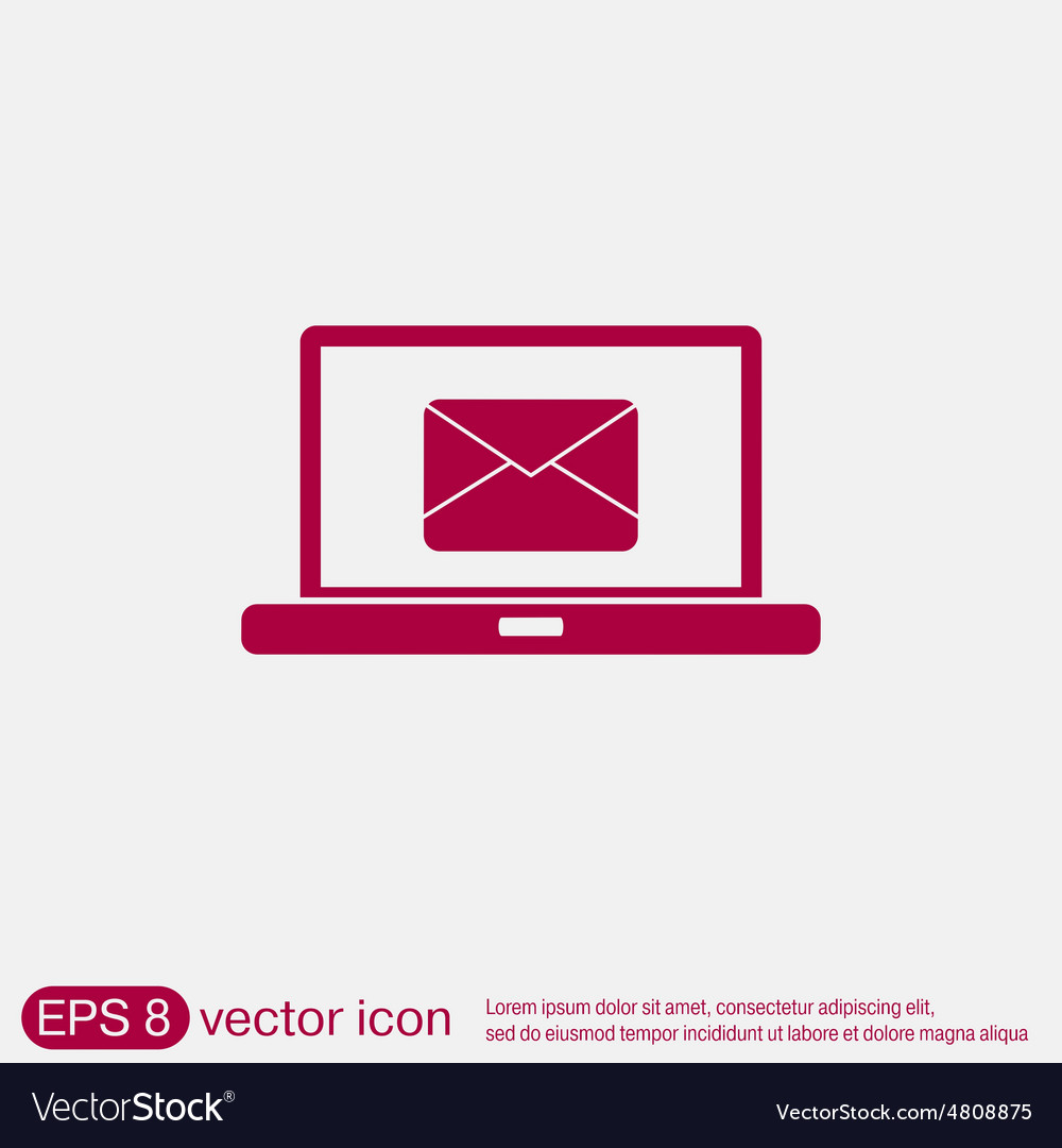 laptop with letter envelope mail icon royalty free vector