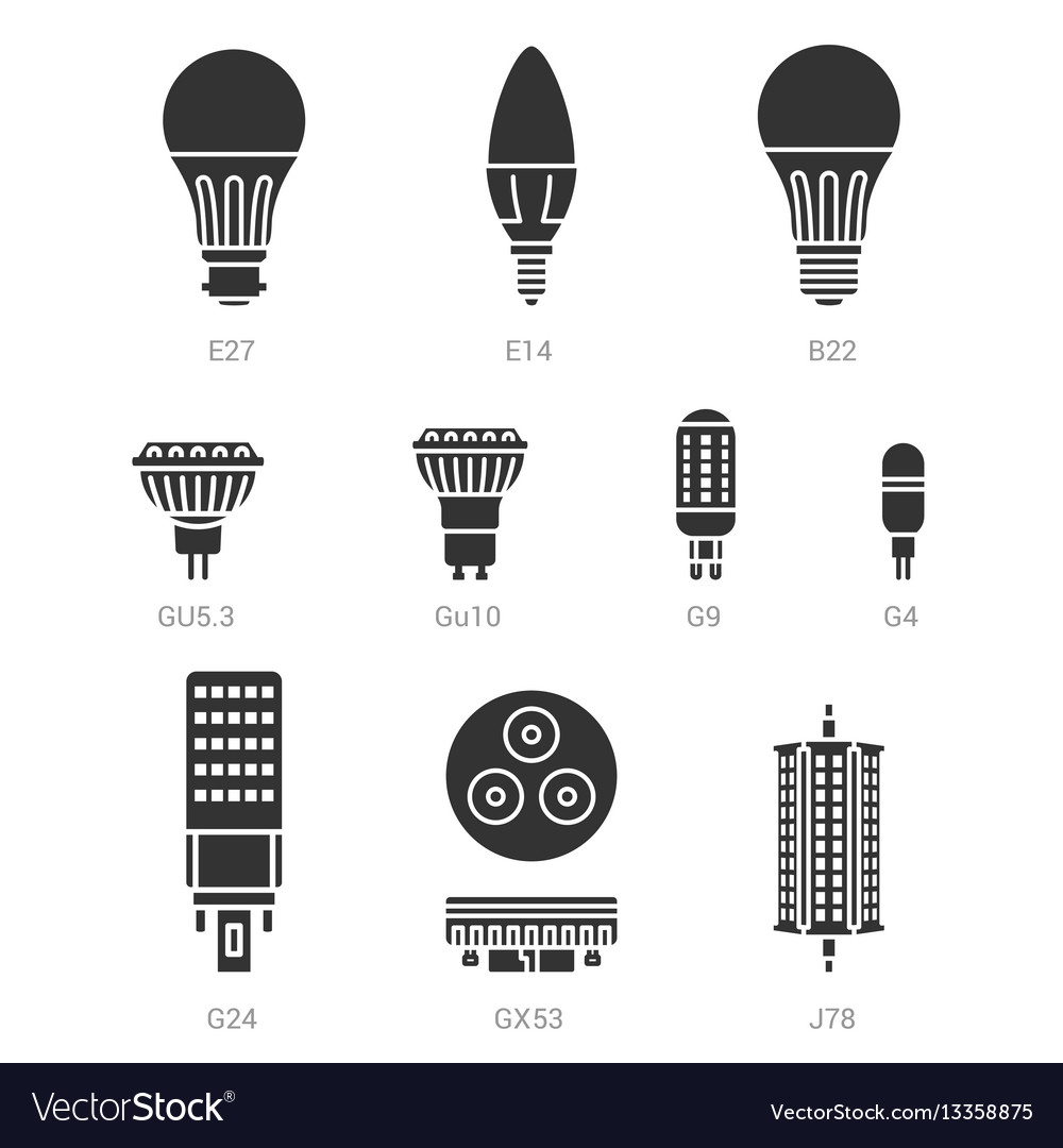 Led light lamp bulbs silhouette icon set