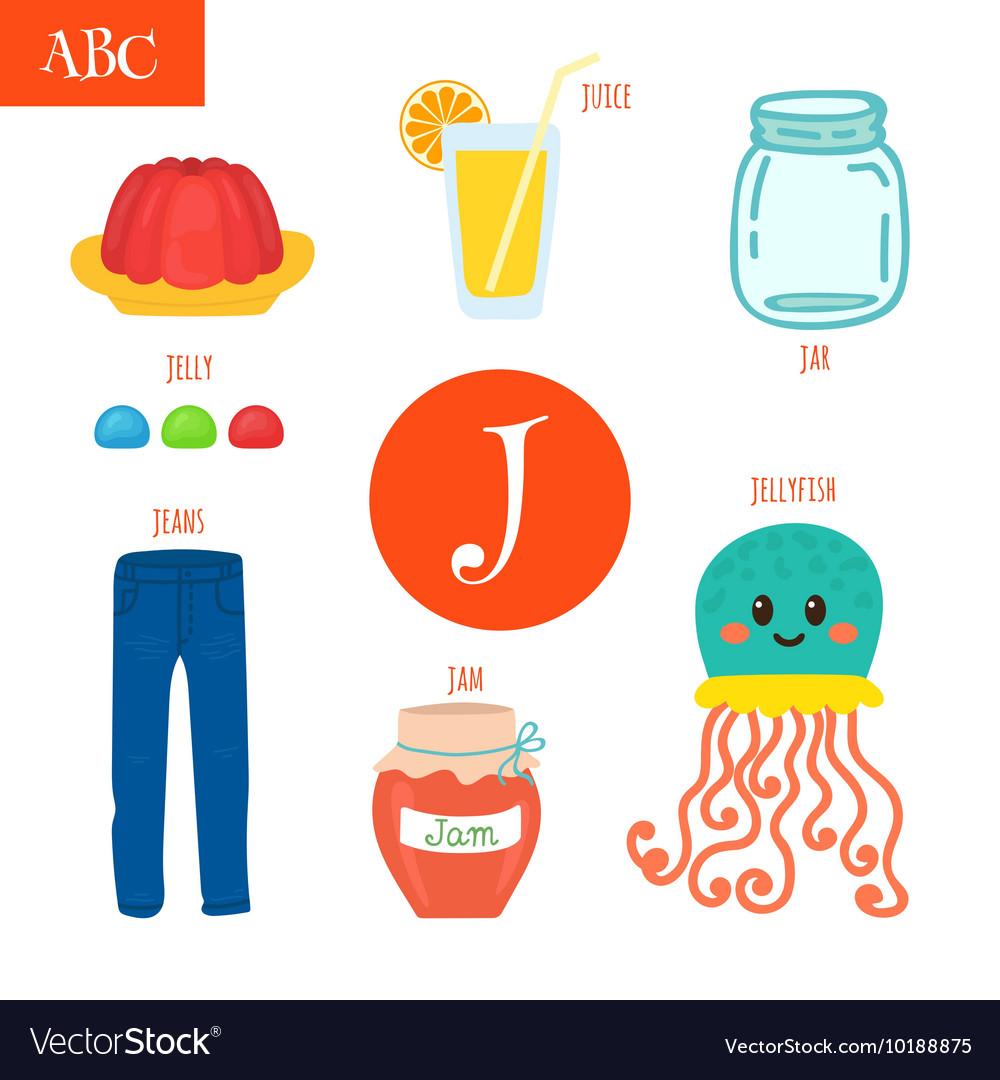 Letter J Cartoon alphabet for children Jellyfish Vector Image