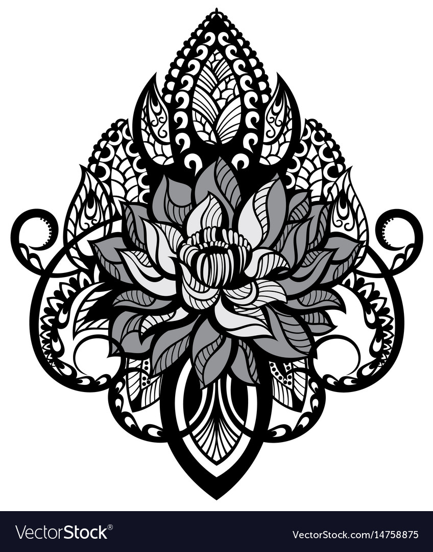 lotus tattoo mandala royalty free vector image