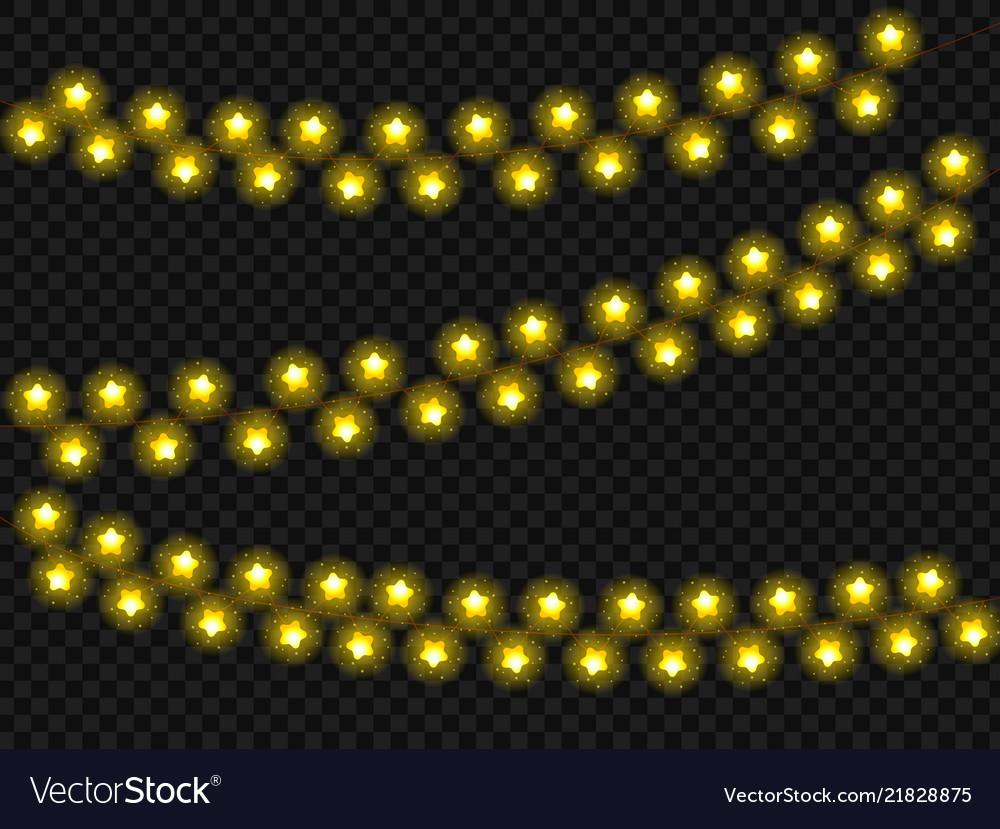 New year christmas garland stars glow