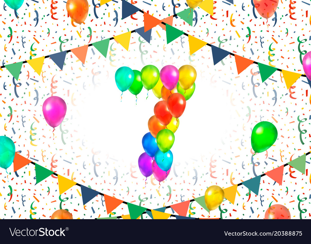 Number seven made up from colorful balloons on