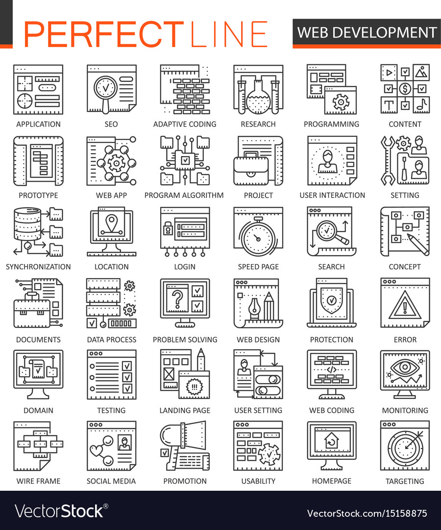 Seo and development outline concept symbols