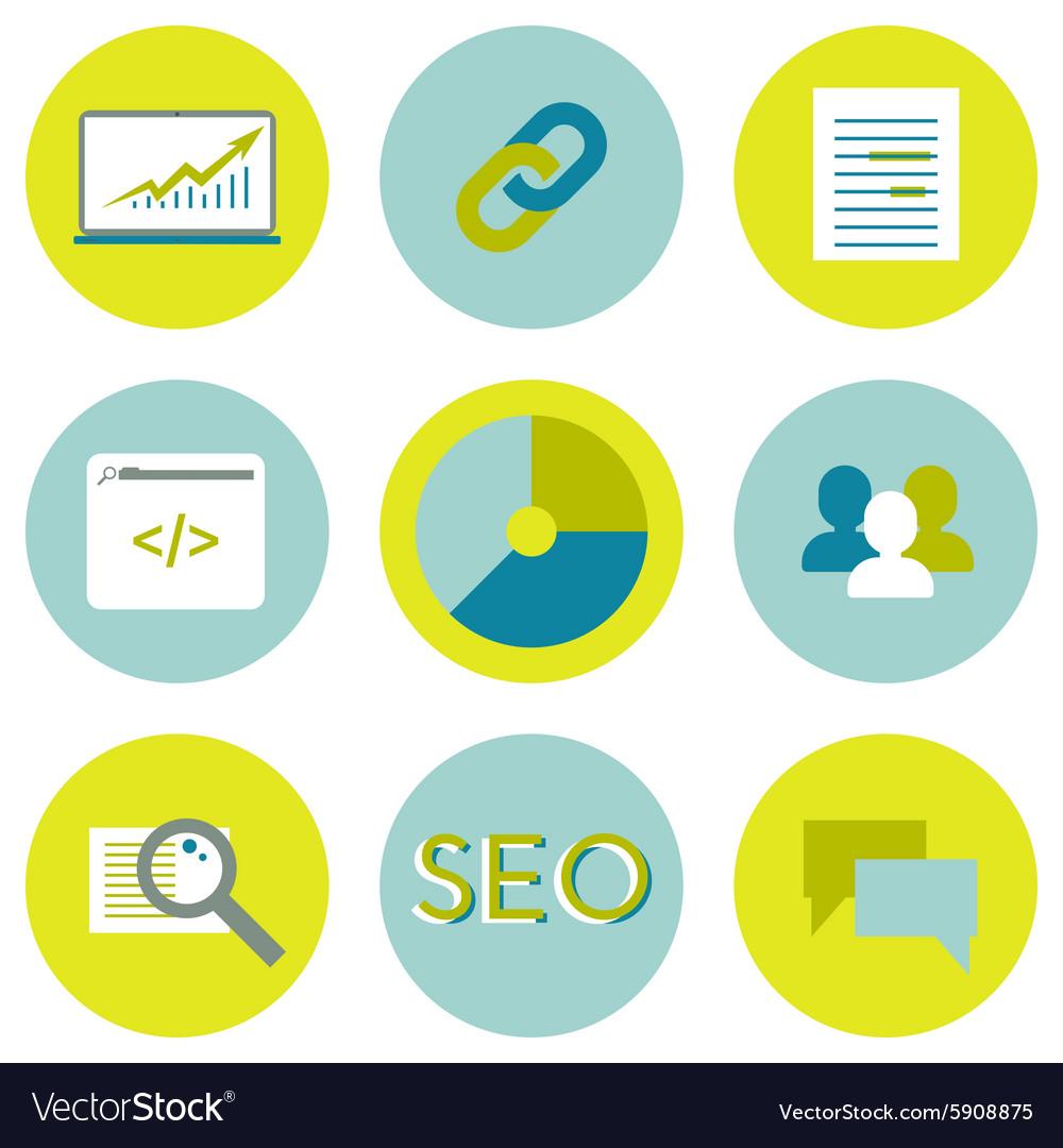 SEO flat icons set Search optimization web