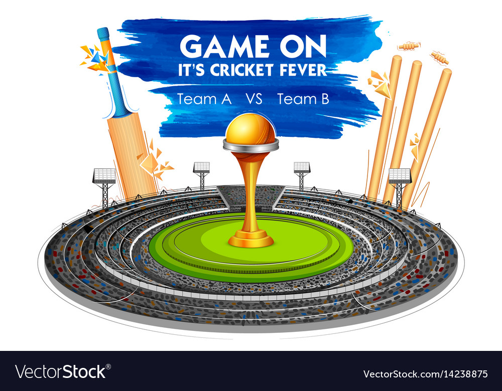 Stadium of cricket with bat wicket and trophy