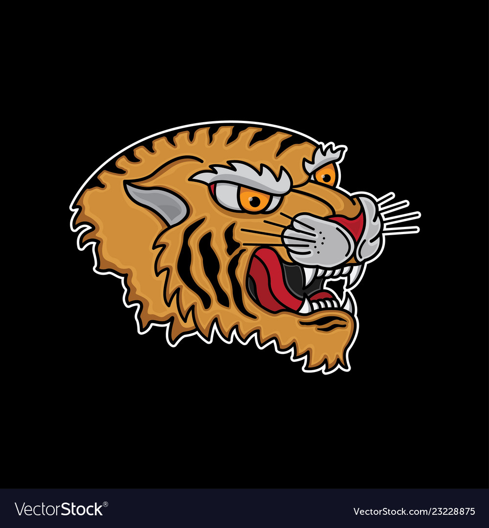Traditional Tiger Head Tattoo Royalty Free Vector Image
