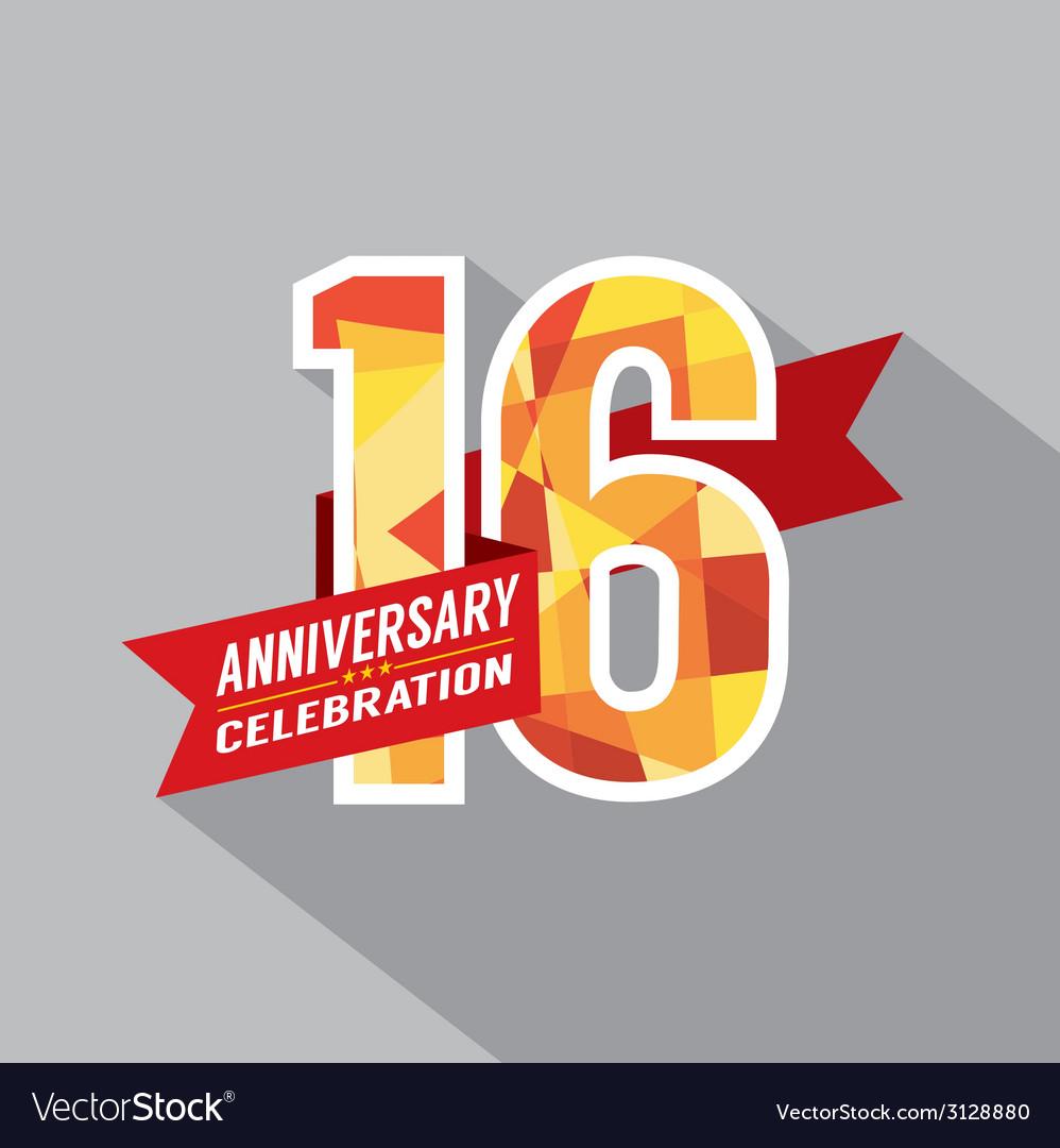 b0eb6af865c22 16th Years Anniversary Celebration Design Vector Image