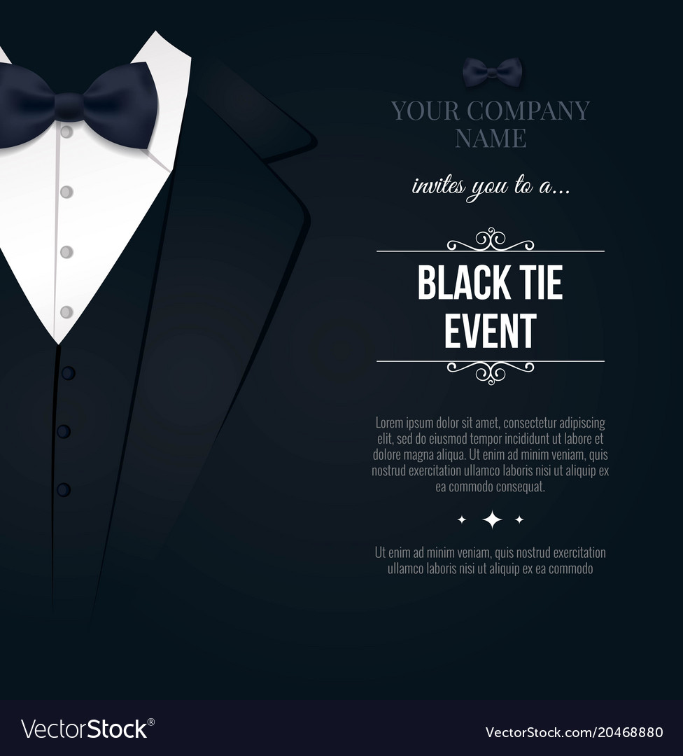 Black tie event invitation elegant black and vector image stopboris Image collections