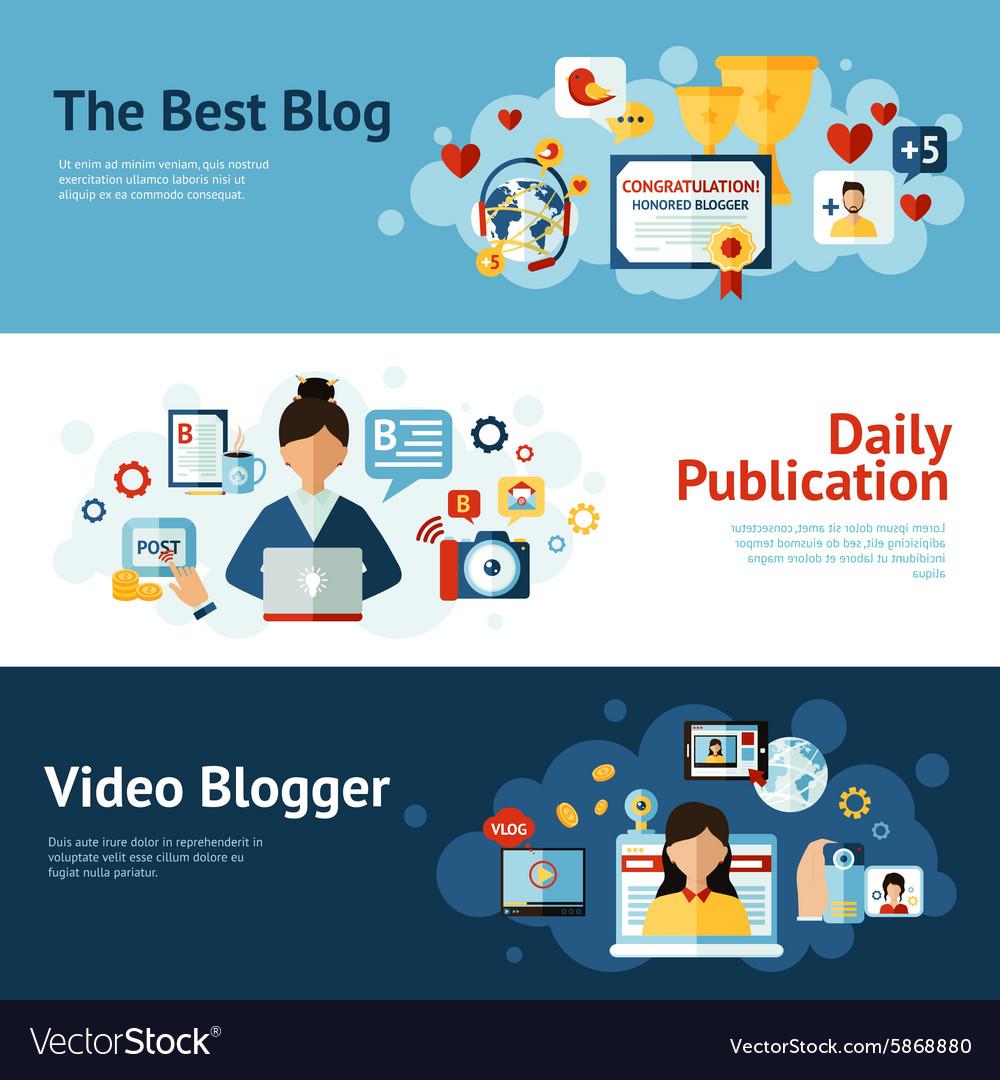 Blogger Banner Set vector image