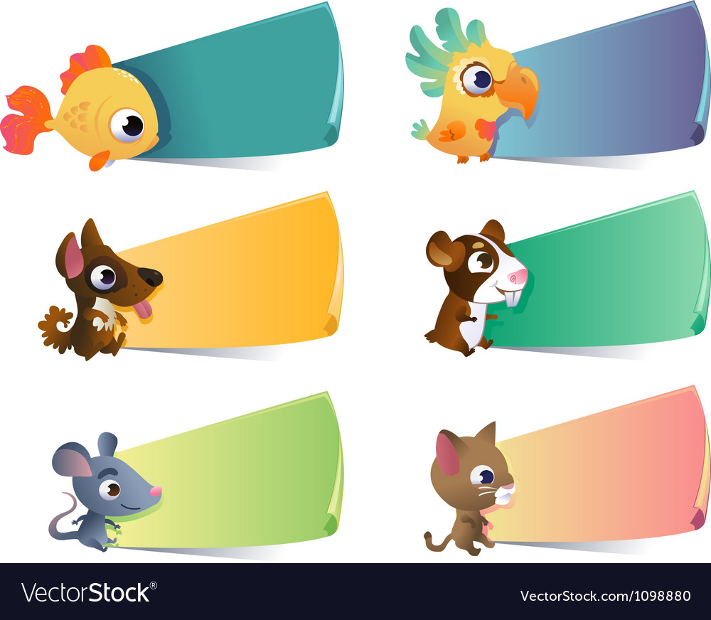 Collection cartoon pets with banners on