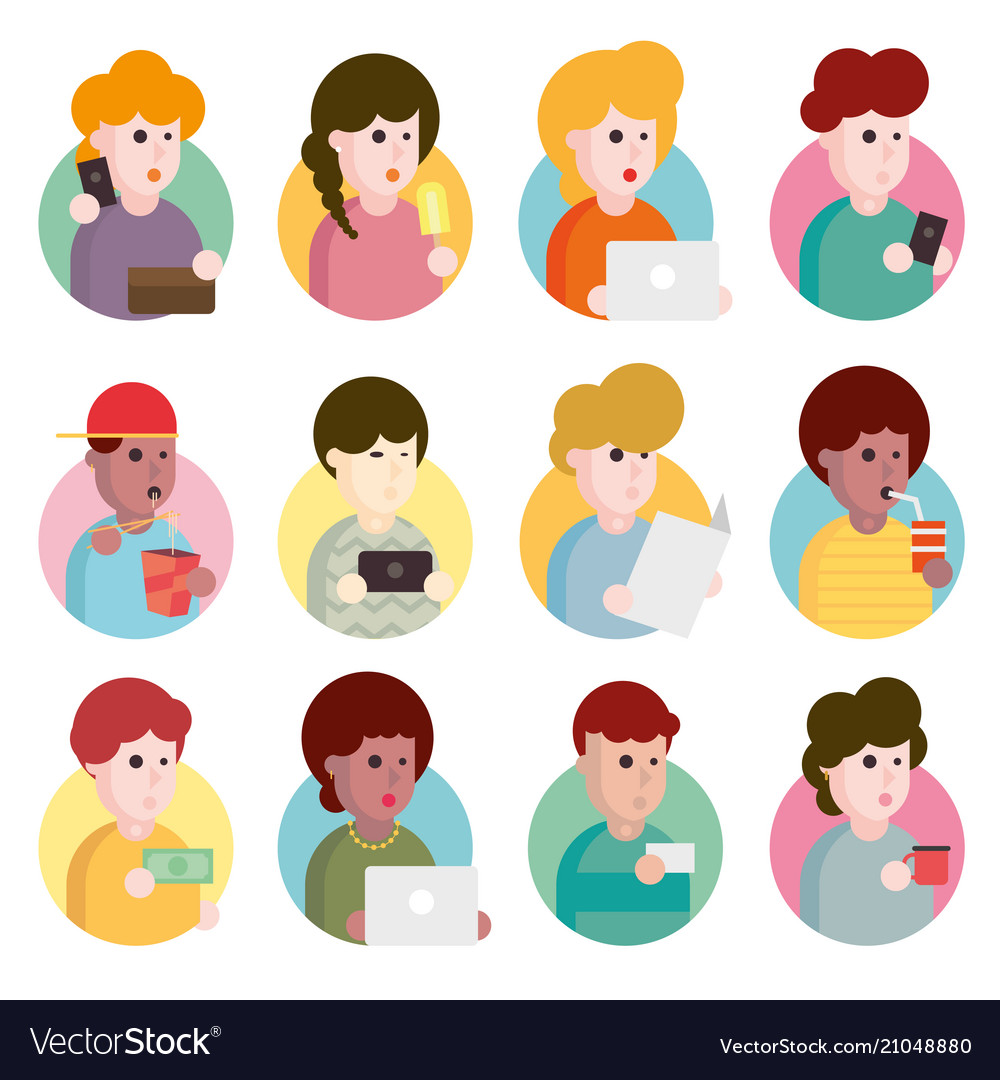 Collection of flat design set of portraits avatars vector image