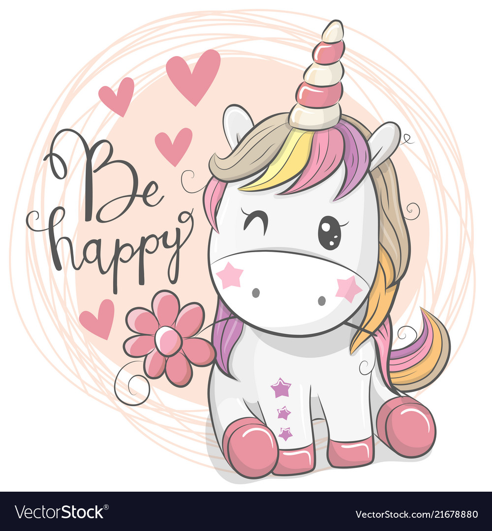 Cute cartoon unicorn with flower Royalty Free Vector Image