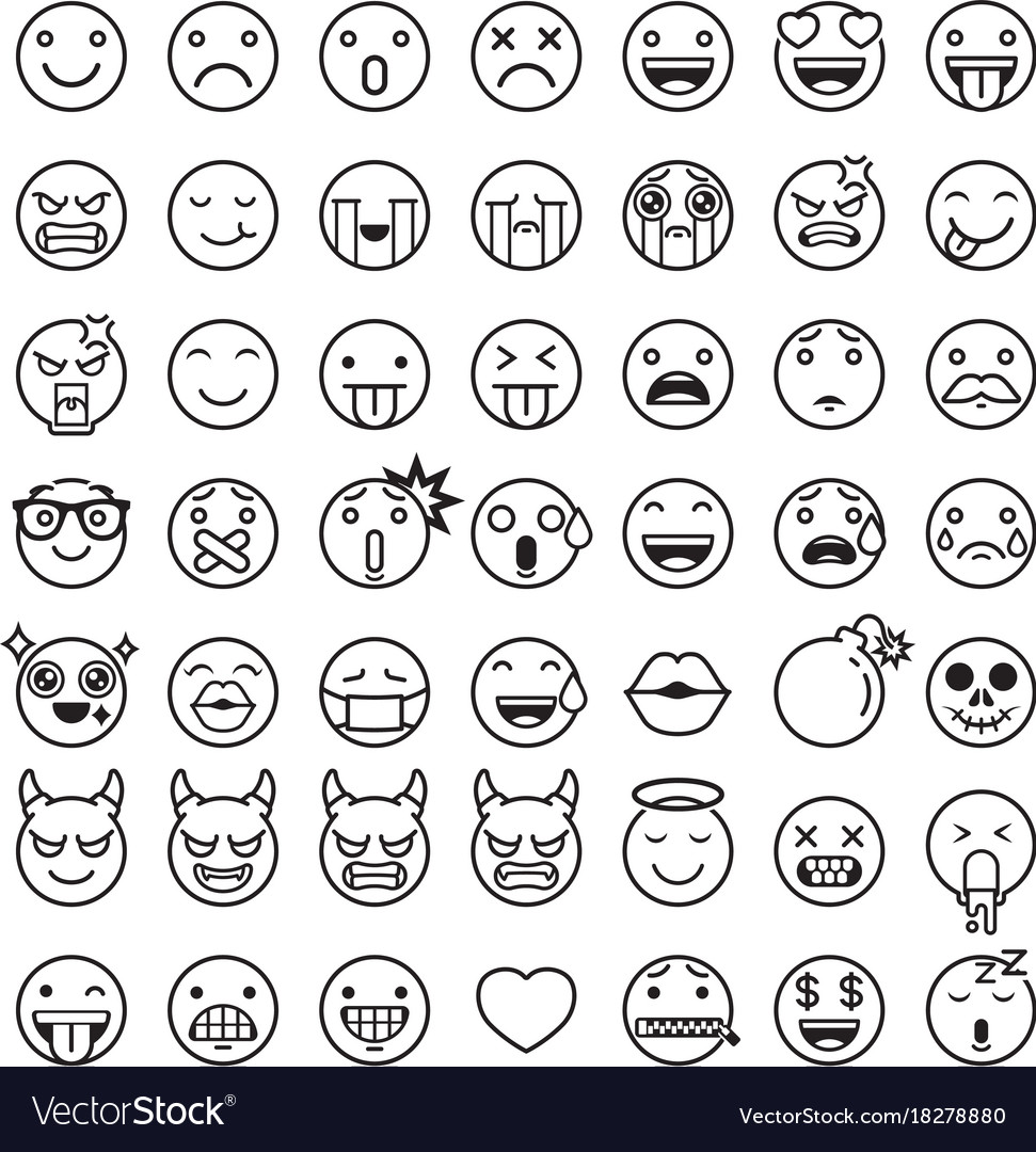 Emoji Emoticons Symbols Icons Set Royalty Free Vector Image