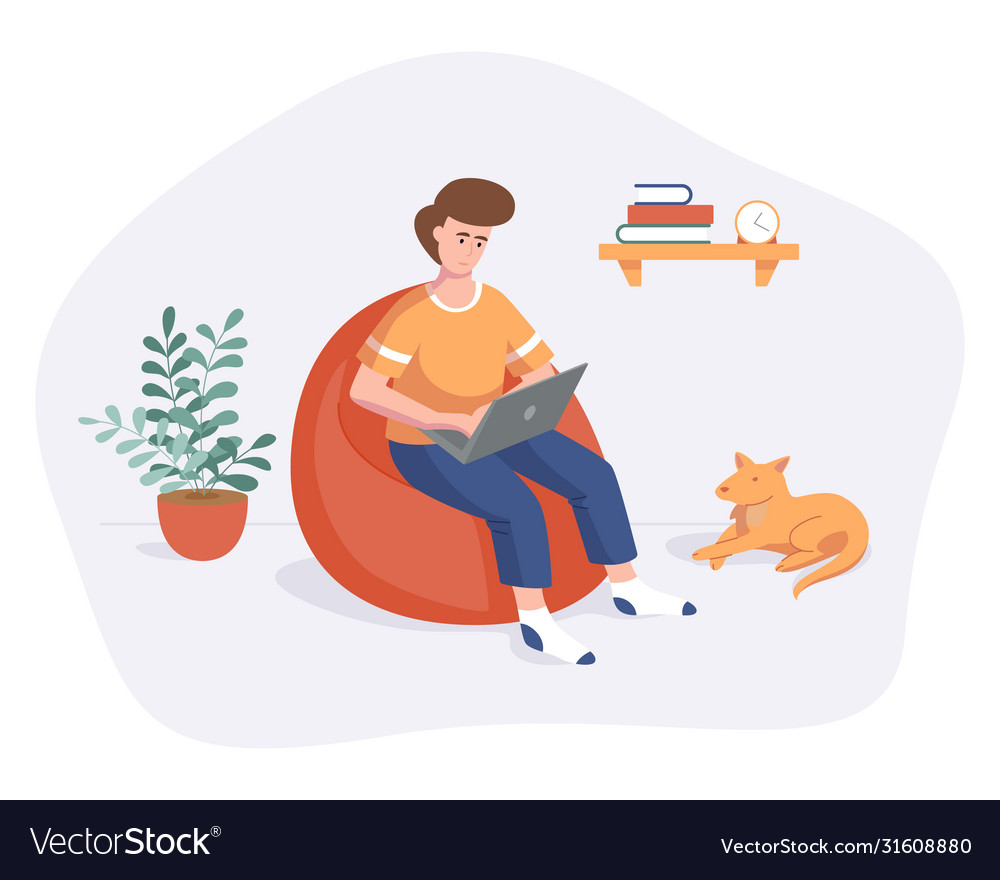 Freelance man work from home comfortable space on