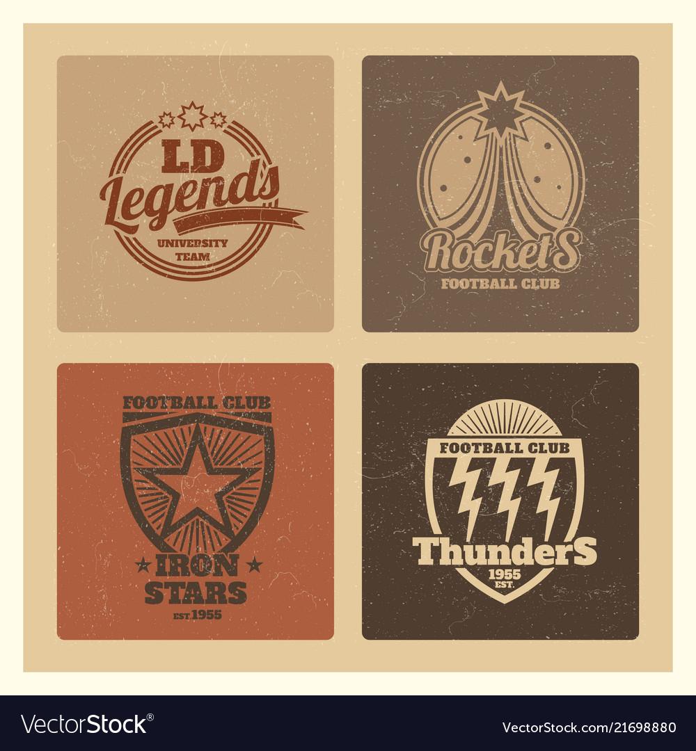 Grunge college athletic labels varsity emblems